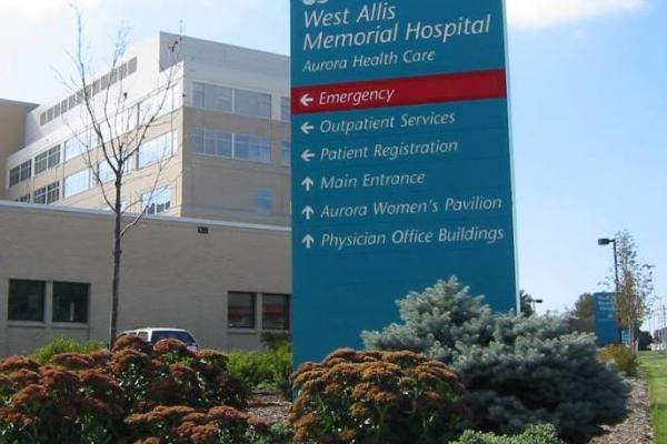 Aurora West Hospital sign